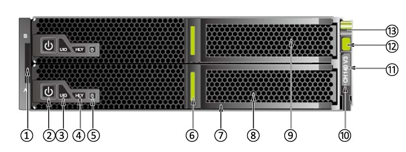 the front panel of Huawei CH140 V3 Compute Node for E9000.